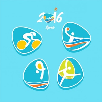 Iconos de deportes olímpicos en color azul