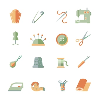 Iconos de elementos de costura