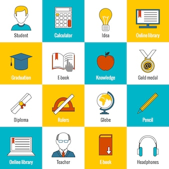 Iconos de elementos de la educación