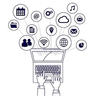 Iconos de elementos de un portátil