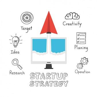 Iconos de estrategia de una startup