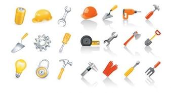 Iconos de herramientas vectoriales de colores establecidos