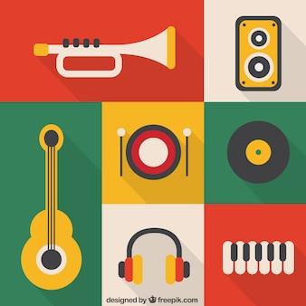 Iconos de instrumentos musicales de colores