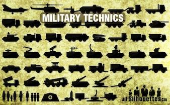 Iconos de la técnica militar de todas las siluetas