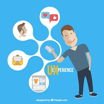 Iconos de la Web y el muchacho con un móvil
