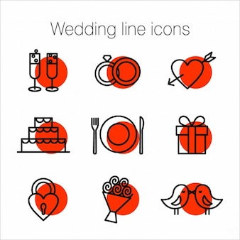 Iconos de líneas de boda