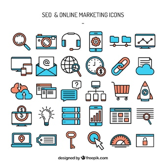 Iconos de marketing de seo y online