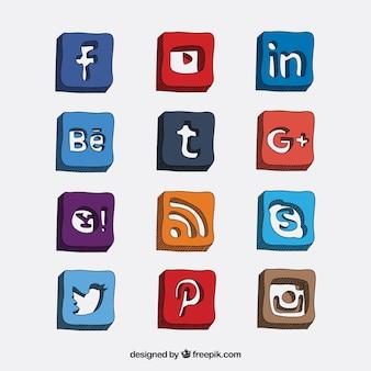 Iconos de medios sociales dibujados a mano en estilo 3d