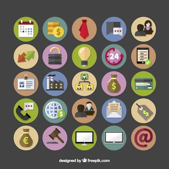 Iconos de negocios coloridos