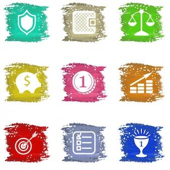Iconos de negocios con manchas de color