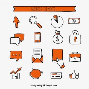 Iconos de negocios naranjas