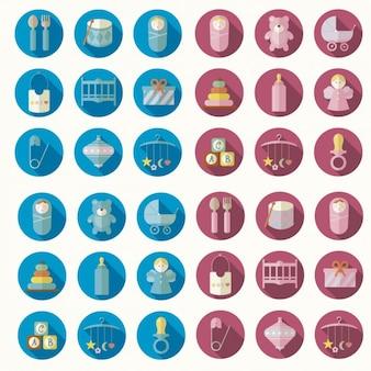 Iconos de nuevo nacimiento en diseño plano