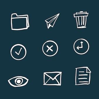 Iconos de oficina dibujados a mano