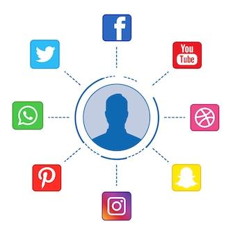 Iconos de redes sociales en infografía