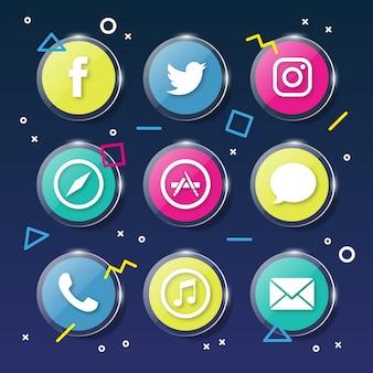 Iconos de redes sociales memphis