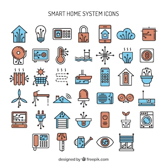 Iconos de sistema inteligente de casa dibujados a mano