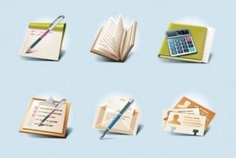 Iconos de sobres y cuadernos