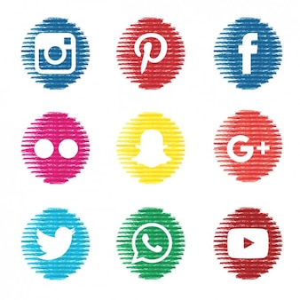 Iconos de social media texturizados