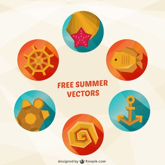 Iconos de verano en estilo geométrico