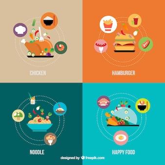 Iconos del alimento infografía
