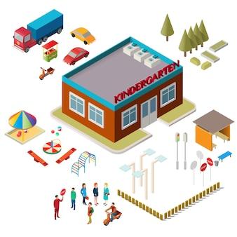 Iconos del edificio del jardín de la infancia, equipo del patio, coches y gente