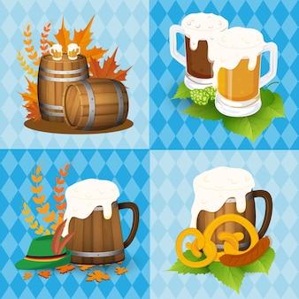 Iconos del festival de la cerveza de Oktoberfest y objetos del símbolo. Ilustración del vector