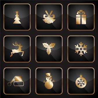 Iconos dorados de navidad