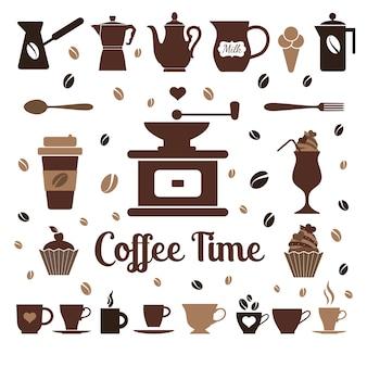 Iconos flat de café