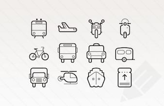 Iconos ictus esbozados para el transporte