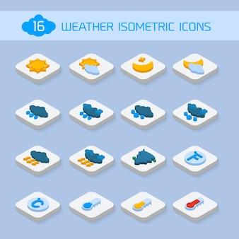 Iconos isométricos del tiempo