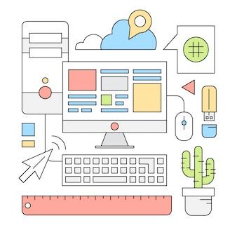 Iconos lineales acerca de negocios e internet
