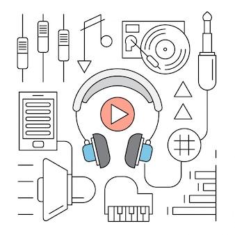 Iconos lineales de libro de audio