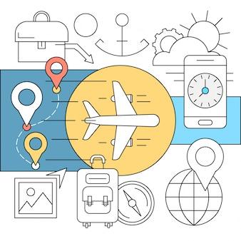 Iconos lineales de transporte y viaje