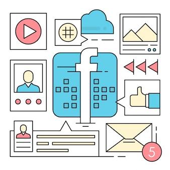 Iconos lineales sobre redes sociales