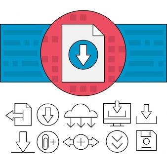 Iconos lineares de descarga