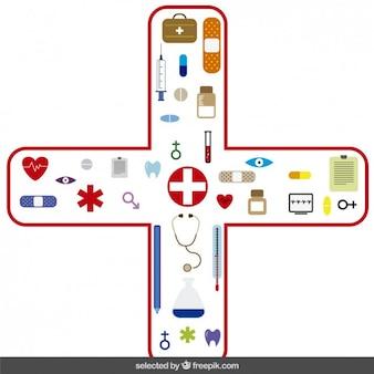 Iconos médicos en cruz