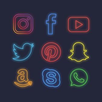 Iconos neon de redes sociales