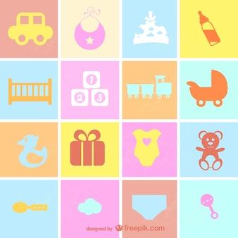 Iconos planos de bebé estilo retro