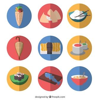 Iconos planos de comida árabe y oriental