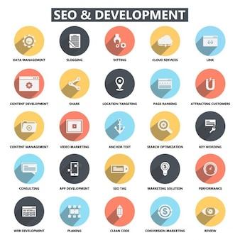 Iconos planos de desarrollo seo