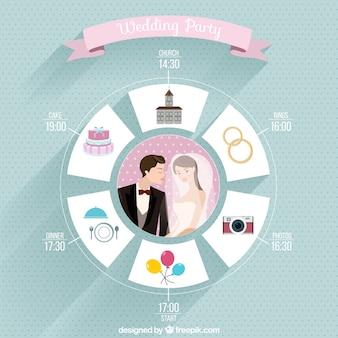 Iconos planos de fiesta de boda