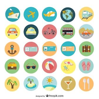 Iconos planos de vacaciones de verano
