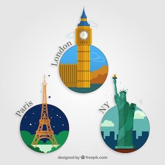 Iconos planos de viaje