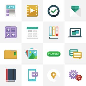 Iconos planos para el diseño de interfaz de usuario