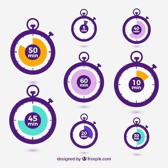 Iconos vectoriales cronómetro establecen