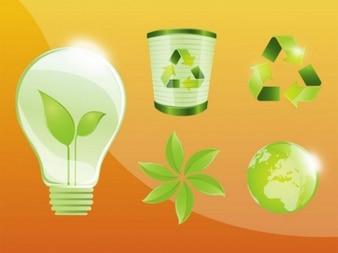 Iconos vectoriales ecológica verde recicle
