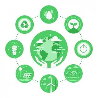Iconos verde de medio ambiente