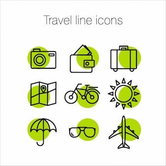 Iconos verdes acerca de los viajes