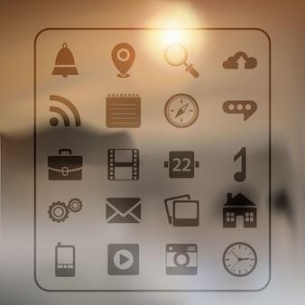Iconos web sobre un fondo borroso