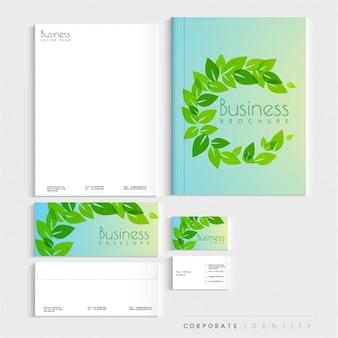 Identidad corporativa con hojas decorativas verdes